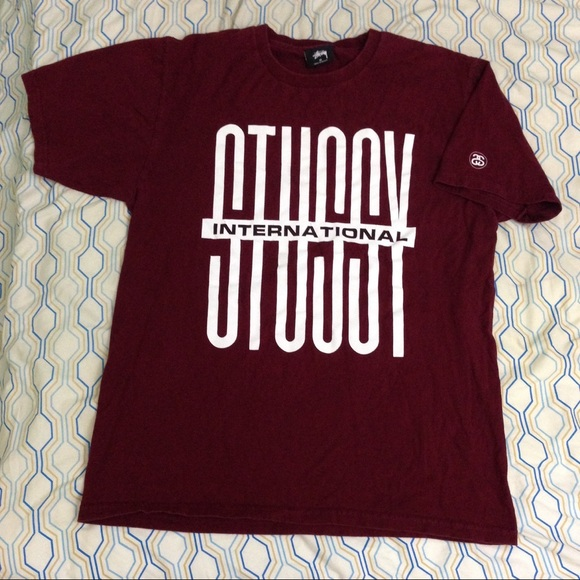 Stussy Other - Stussy International Spellout Logo Maroon Shirt